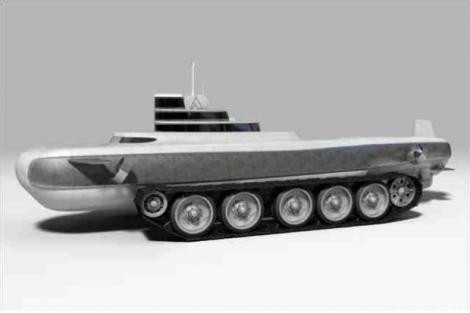 Подводная лодка, оснащенная гусеницами танка.