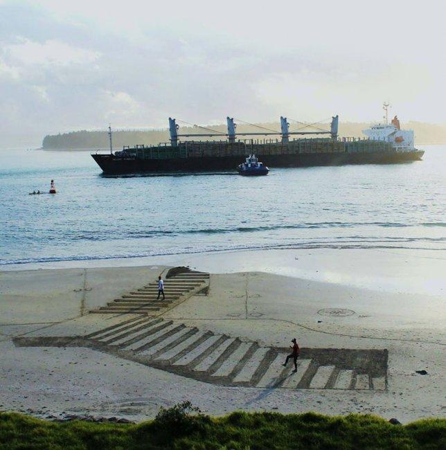 Объёмные картины на песке от Джейми Наркинса (9 фото)