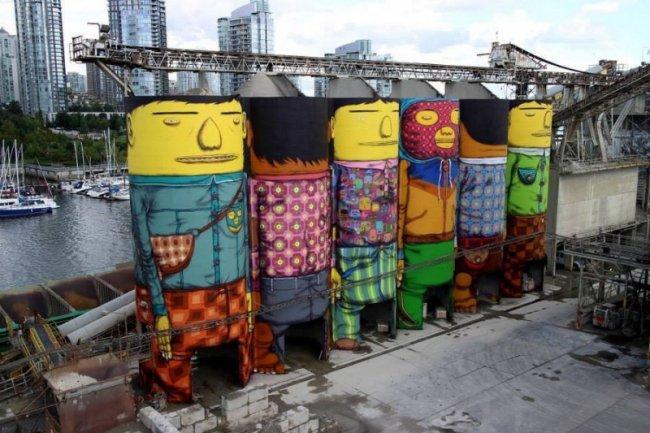 Серые башни исписанные граффити (9 фото)