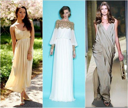 Выпускные платья в греческом стиле, стильные фасоны на выпускной 2013, фото