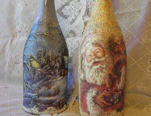 Декупаж шампанского на Новый год, мастер-класс