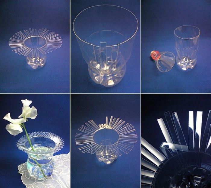 Как сделать вазу своими руками из пластиковых бутылок