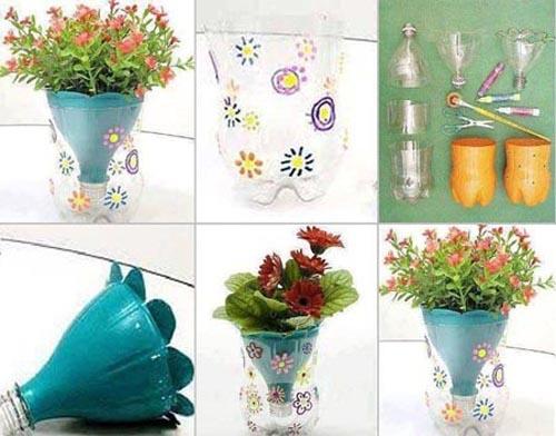 Цветы и вазы из пластиковых бутылок своими руками