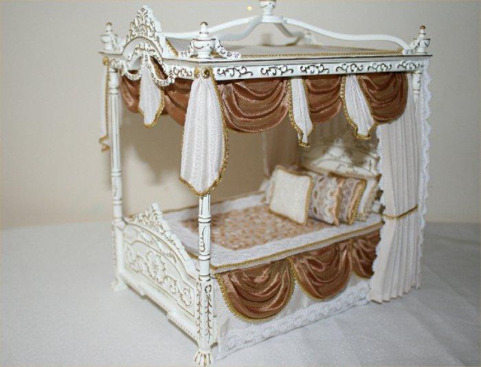 Кровать с балдахином для куклы барби своими руками 6