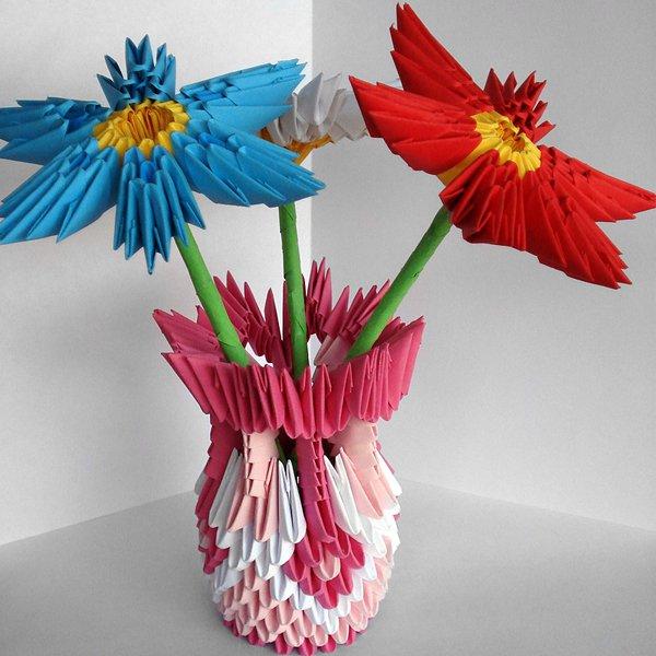 Бумажная ваза для бумажных цветов своими руками