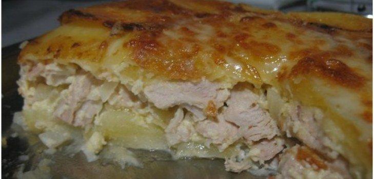 рецепт мяса в духовке слоями рецепт с фото