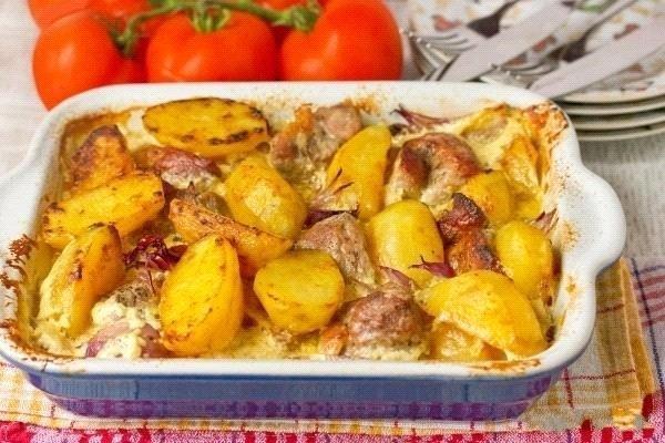 Свинина с картошкой и грибами в духовке в фольге рецепт