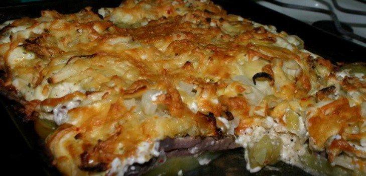 Мясо по-французски с картошкой в духовке рецепт с фото свинина пошагово