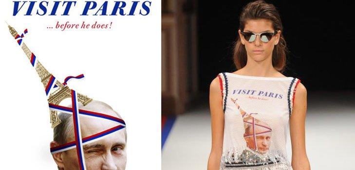 Модели немецких дизайнеров с портретами президента России на парижской Неделе моды