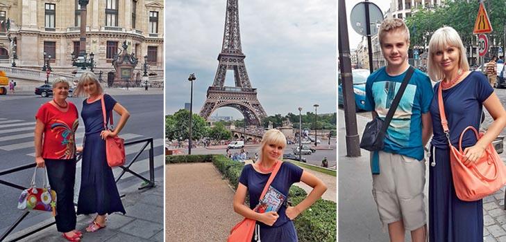Натали отправилась в Париж вместе с сыном и мамой