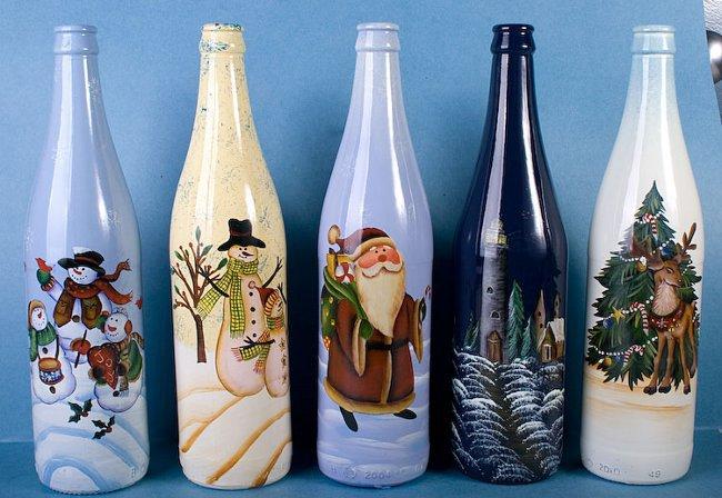 Новогодняя роспись бутылки