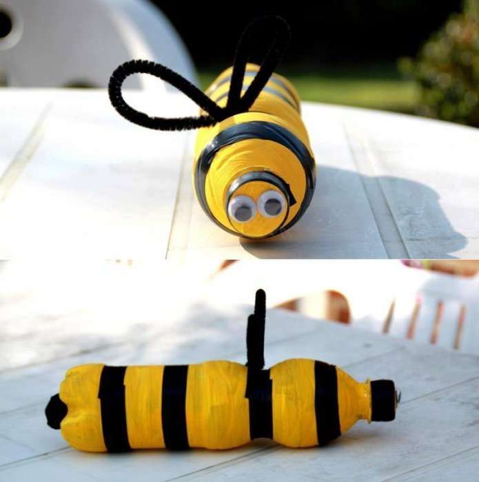 Как сделать пчелку своими руками из бутылок