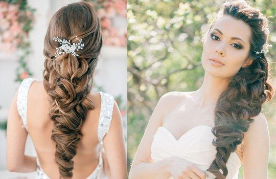 Прически на свадьбу для длинных волос коса