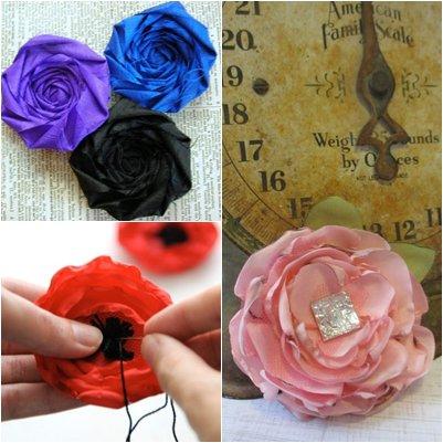 Атласные цветы своими руками, инструкции, схемы, фото